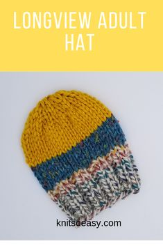 The Longview hat knitting pattern is so quick and easy to make.  What makes it unique is the endless color combinations you can use.  It is a great way to use up those little balls of super chunky yarn scraps you have tucked away. Knit Hat Pattern Easy, Knit Headband Pattern, Knitted Headband, Knitted Hats, Quick Knitting Projects, Knitting For Beginners, Knitted Washcloths, Cross Stitch Patterns, Hat Patterns