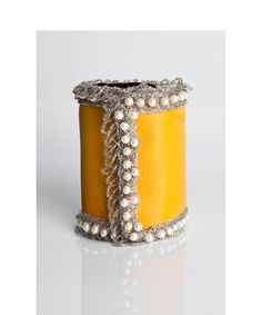 Hey, I found this really awesome Etsy listing at https://www.etsy.com/listing/86409825/freesia-yellow-cuff-with-vintage-pearls