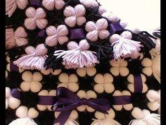 Pom pom blanket. LOOK the reversible 3D puffy flower blanket - YouTube