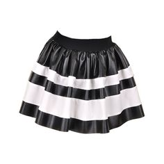 PU Mini Skirt with Stripe Print in White and Black ($94) ❤ liked on Polyvore