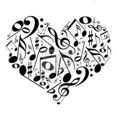 Quadros ou poster silueta, abstrat, sino de ferro - coração com notas musicais - gosto pela música ✓ Vasta gama de materiais  ✓ 365 dias para devolução sem apresentar a razão ✓  Confira a opinião dos nossos clientes!