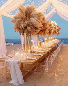 "Wedding Chicks® on Instagram: ""Beach wedding of our dreams! Twinkle lights, pampas and feet in the sand.…"" Small Intimate Wedding, Elegant Wedding, Perfect Wedding, Luxury Wedding, Reception Table, Wedding Reception Decorations, Reception Ideas, Table Decorations, Grass Centerpiece"