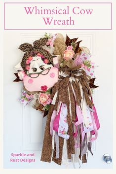Diy Bow, Diy Ribbon, Cow Decor, Leopard Print Fabric, Door Wreaths, Bow Wreath, Patriotic Decorations, Faux Flowers, Farmhouse Decor