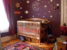 Moon and Stars Baby Room Moon & Stars Nursery Decal Moon Nursery, Nursery Decals, Star Nursery, Nursery Wall Decor, Nursery Design, Nursery Themes, Nursery Room, Girl Nursery, Hippie Nursery
