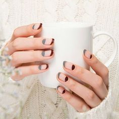 Neat look from the traditional French manicure.