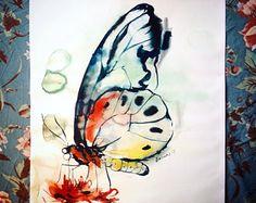 Pintura acuarela de mariposa, obra de arte original. Arte de la naturaleza de Aquarelle. Esquema de color de agua presentes, cumpleaños único. Cuadro de acuarela.