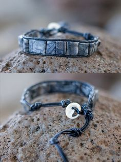 Black Marble & Leather Brocelet Unisex Wrap Bracelet