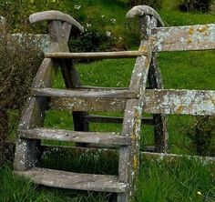 Old wooden fence stairs