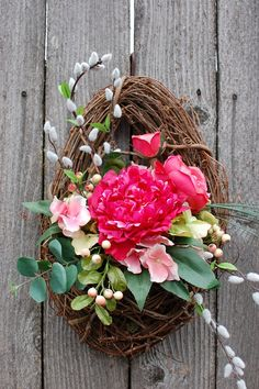Spring wreath / Hanging basket arrangement by LeBourgeon on Etsy, $40.00