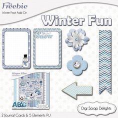 Digital Scrapbook #Freebie - Winter Frost Add On Blue, Project Life type journal cards, elements, #download