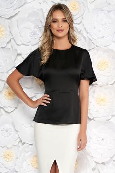StarShinerS black elegant women`s blouse from satin fabric texture accessorized with tied waistband short sleeves, accessorized with tied waistband, short sleeves, nonelastic fabric, satin fabric texture, thin fabric, one back botton fastening, textile bend fastening, frilled waist