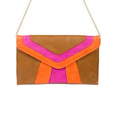 Street Level Color Block Envelope Clutch