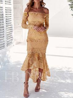 Silhouette: Mermaid Dress Length: Ankle-Length Sleeve Length: Long Sleeve Neckline: Off Shoulder Waist Line: Standard-Waist. Fall Dresses, Casual Dresses, Fashion Dresses, Party Dresses, Plain Dress, Easter Dress, Sweet Dress, Mi Long, Party Fashion