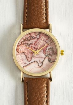 Next Stop, the Time Zone Watch. You unlock timeless style with this vintage-inspired watch. #tan #modcloth