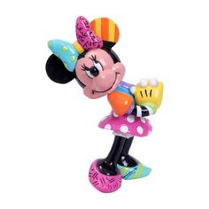 Disney Britto Blushing and smiling, this Minnie figurine eagerly awaits a gift from her beloved Mickey. Minnie is garbed in a beautiful rainbow of colours and patterns, compliments of a special paint job. Disney Christmas Decorations, Christmas Elf, Minnie Mouse Pink, Mickey Mouse, Figurine Disney, Graffiti Painting, Graffiti Art, Disney Traditions, Disney Mickey