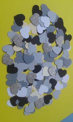 Cuore/fustellati/grigio/glitter/       150 cuori fustellati