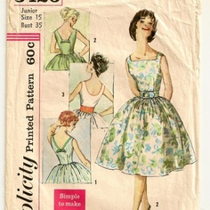 """A Dress Pattern with Back Variations - Junior Size 15, Bust 35"""""""