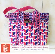 4e84565c69 Tulipános, 6 zsebes tavaszi/nyári táska elkészítési leírás és ingyenes  szabásminta ~*~ Tulip Bag with 6 pocket free pattern and tutorial