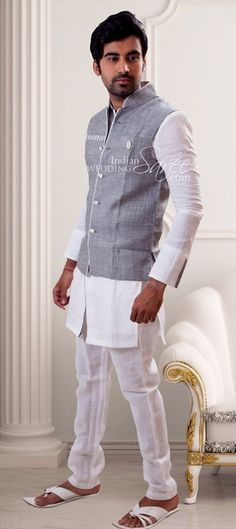 12551 Black and Grey, White and Off White color family Kurta Pyjamas in Cotton, Khadi fabric with Broches work. Pathani Kurta, Khadi Kurta, Kurta Pajama Men, Mens Ethnic Wear, White Kurta, Nehru Jackets, Off White Color, Collar Styles, Mandarin Collar