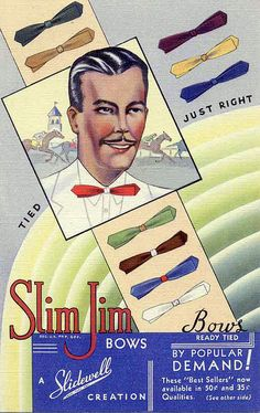 Linen advertising postcard for Slim Jim bow ties, 1930s