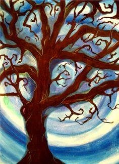 Swirl tree. Watercolor.