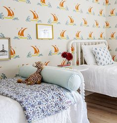 Charming kids room. Love the wallpaper and hardwood floors. #kidsroom #twinbeds