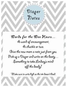 Baby shower fun- write a note on a diaper