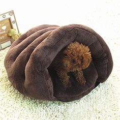 OWIKAR Cat House Small Hamburger Style Soft Warm Kitten Cat/Dog House Puppy Cave Nest Pet Sleeping Bag Bed With Removable Mat Cushion Cozy Pet Kennel Teddy Yorkie chihuahua Grey Coffee -- Learn more by visiting the image link. (This is an affiliate link and I receive a commission for the sales)