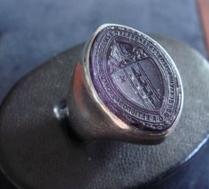 Ecclesiastical ring, amethyst intaglio seal ring, Massachusetts Bishop on Etsy, $1750