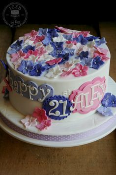 Pretty 21st Cake :) - by IcedByKez @ CakesDecor.com - cake decorating website