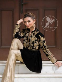 Latest Fashion 2017 - Stylish Black Peplum Top - Beige Bell Bottom Pants