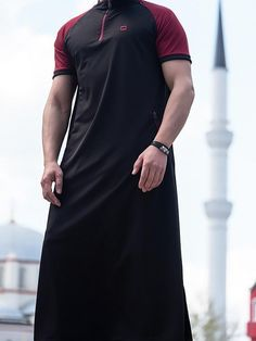 9ae0fd221f3 QL LN Thobe Kameez with Short sleeves in Black  t  me  sunnah