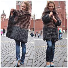 18 stunning yet simple garter stitch knitting patterns – Artofit Crochet Shrug Pattern, Sweater Knitting Patterns, Cardigan Pattern, Crochet Cardigan, Knit Crochet, Warm Sweaters, Sweaters For Women, Knitted Coat, Chunky Yarn