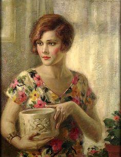 """Peterjaussie:Edna Crompton """"Flapper Girl In Flowered Dress"""" by Art & Vintage on Flickr."""