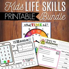 Life Skills For Kids Printable Bundle Learn To Tell Time Phone Number Game Address Activity Preschool Printables Homeschool Curiculum by ArrowsAndApplesauce Life Skills Kids, Life Skills Lessons, Life Skills Activities, Life Skills Classroom, Lessons For Kids, Learning Activities, Kids Learning, Preschool Life Skills, Classroom Ideas