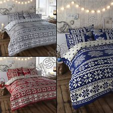 ALPINE SNOWFLAKE REVERSIBLE QUILT DUVET COVER BEDDING SET WITH PILLOW CASE NEW