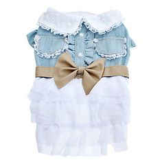 Elegant+Chiffon+Pet+Dress+with+Bowknot+and+Lace+Stickup+for+Dogs+-+USD+$+13.99