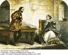 Depiction of Anne Boleyn with the Constable in the Tower-From 'A History of England for the Young'