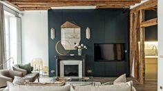 40 idées de cheminées pour un salon chaleureux Foyers, Living Room Remodel, Home Remodeling, Shelving, Oversized Mirror, Bookcase, Luxury, Furniture, Home Decor