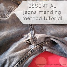 Jessica needs this tute.Adventures in Dressmaking: Essential blue jean mending method--Tutorial! Sewing Hacks, Sewing Tutorials, Sewing Projects, Sewing Patterns, Sewing Diy, Diy Clothing, Sewing Clothes, Sewing Jeans, Sewing Circles