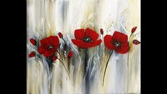 Blue Painting, Texture Painting, Oil Painting On Canvas, Knife Painting, Large Abstract Wall Art, Simple Acrylic Paintings, Acrylic Flowers, Beautiful Paintings, Red Flowers