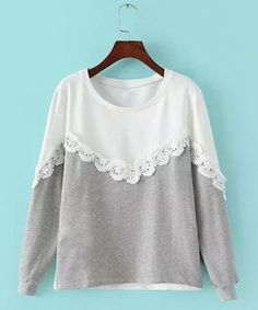 Stylish Scoop Neck Long Sleeve Lace Splicing Sweatshirt For WomenSweatshirts & Hoodies | RoseGal.com