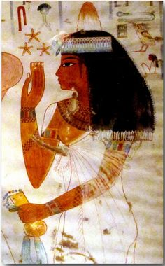 Ancient Egyptian woman in tomb