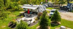 Rv Camping, Campsite, Best Rv Parks, Cement Patio, Rv Sites, Fish Ponds, Shade Trees, Workout Rooms, Picnic Table