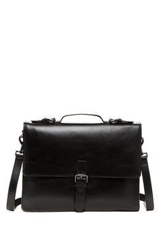 Classic black leather brief case