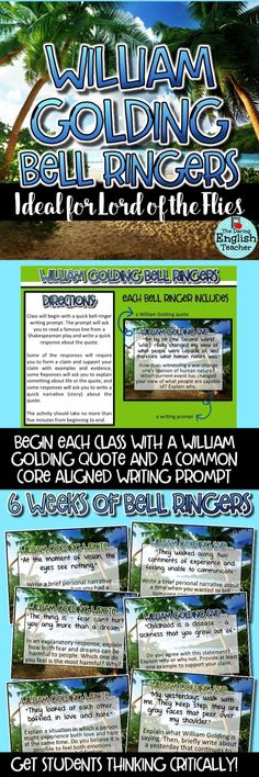 "Lord of the Flies common core aligned bell ringers to get your students thinking critically! I use these bell ringers in the beginning of each class when I teach William Golding's novel, ""Lord of the Flues."" Secondary ELA bell ringers. High school English."