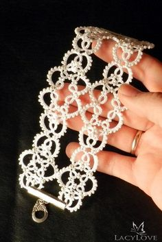 Tatted bridal bracelet - Wide lace bracelet - Wedding bracelet - Cuff bracelet - Lace bracelet - White bracelet - Tatted jewelry on Etsy Tatting Armband, Tatting Bracelet, Lace Bracelet, Tatting Jewelry, Wedding Bracelet, Crochet Necklace, Crochet Jewelry Patterns, Tatting Patterns, Lace Patterns