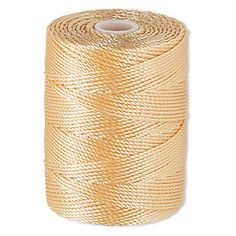 Thread, C-Lon�, nylon, apricot, 0.5mm diameter. Sold per 92-yard bobbin.