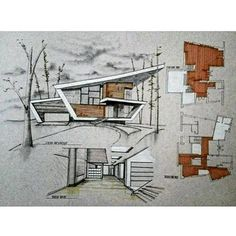 drawing Powered by: Jeff Things - ., Architecture drawing Powered by: Jeff Things - ., Architecture drawing Powered by: Jeff Things - ., 16 Examples Of Modern Houses With A Sloped Roof Sketchbook Architecture, Model Architecture, Collage Architecture, Architecture Design Concept, Architecture Graphics, Interior Architecture, Creative Architecture, Architecture Diagrams, Classical Architecture