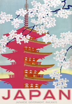 Vintage Japan Japanese Railway Travel Poster